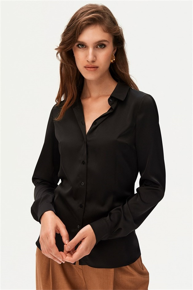 Black Satin Shirt With Buttons