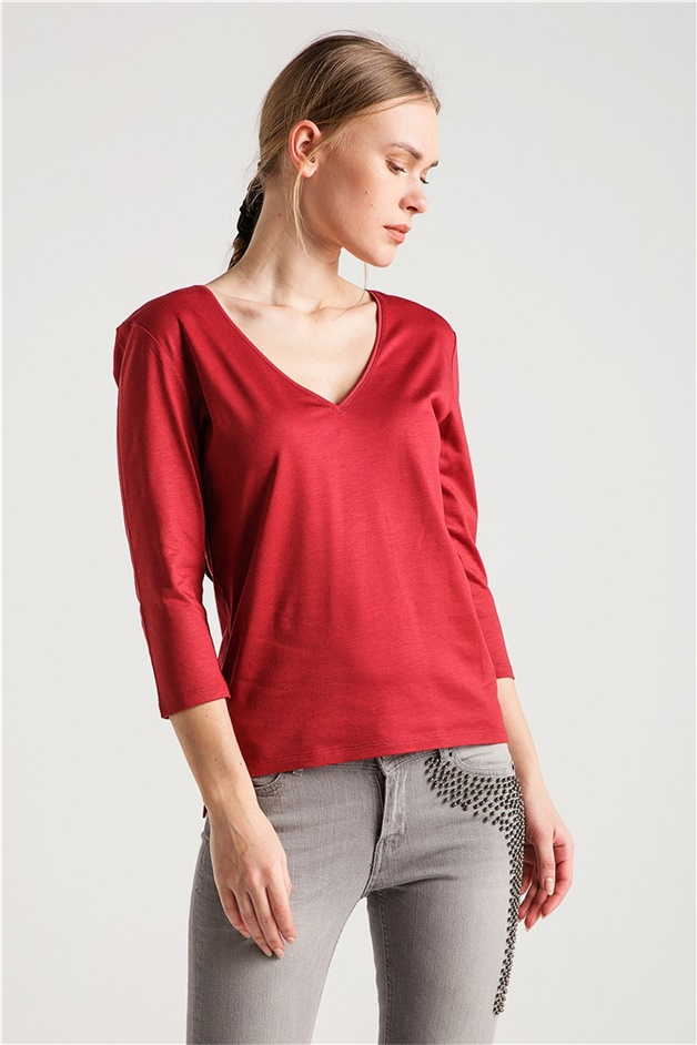 V YAKA BASIC T-SHIRT BORDO RENK