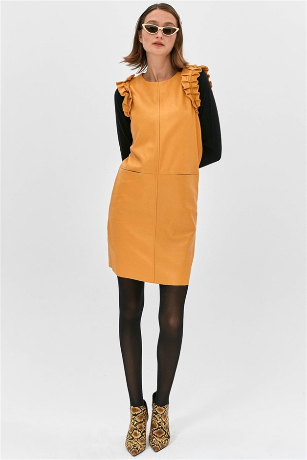 Faux Leather Dress With Amber Flywheel