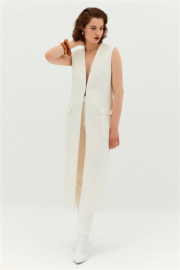 Long Vest With Flap Front Pockets