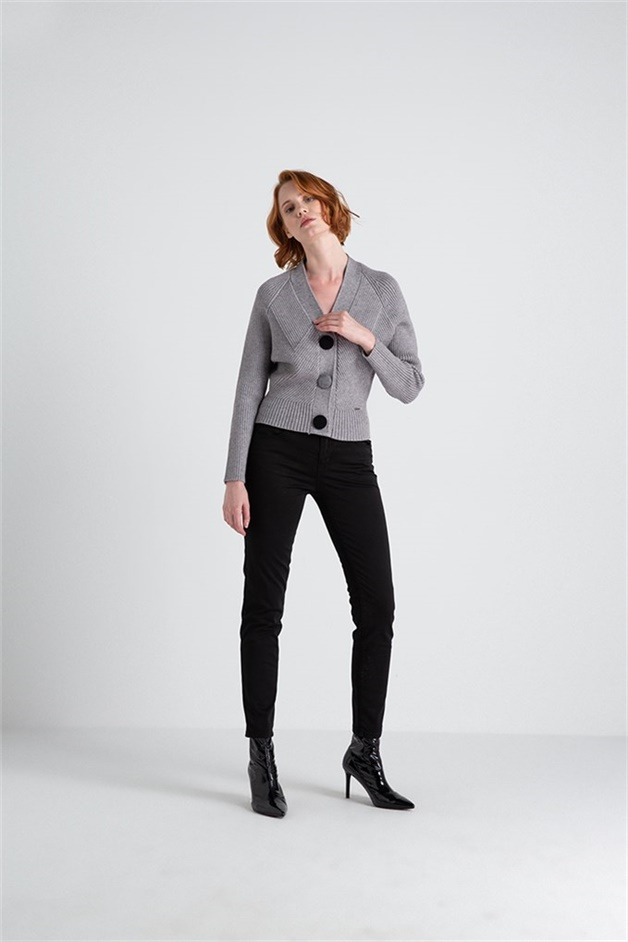 Knitwear Waistcoat With Grand Button Accessory Greymel