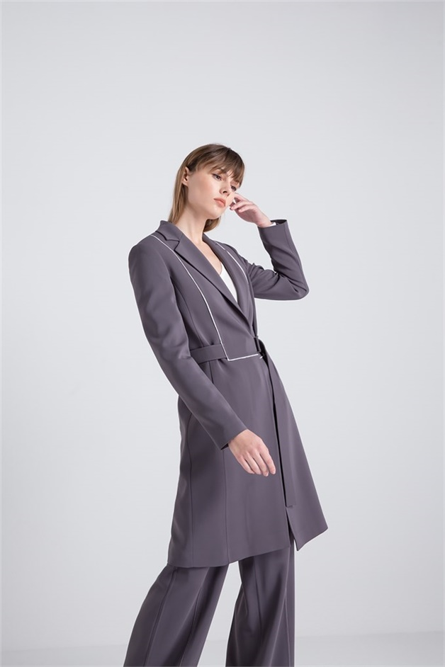 Maxi Jacket With Contrast Piping Grey