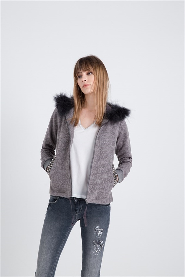 Fur Cardigan With Stone Detail Greymel