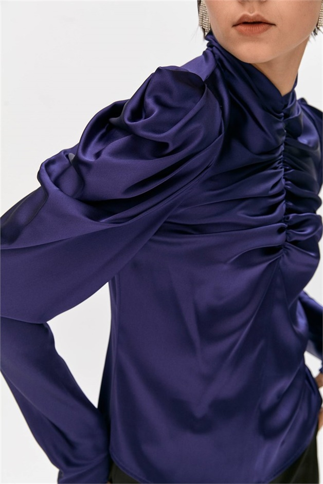 Navy Blue Balloon Shoulder Draped Blouse