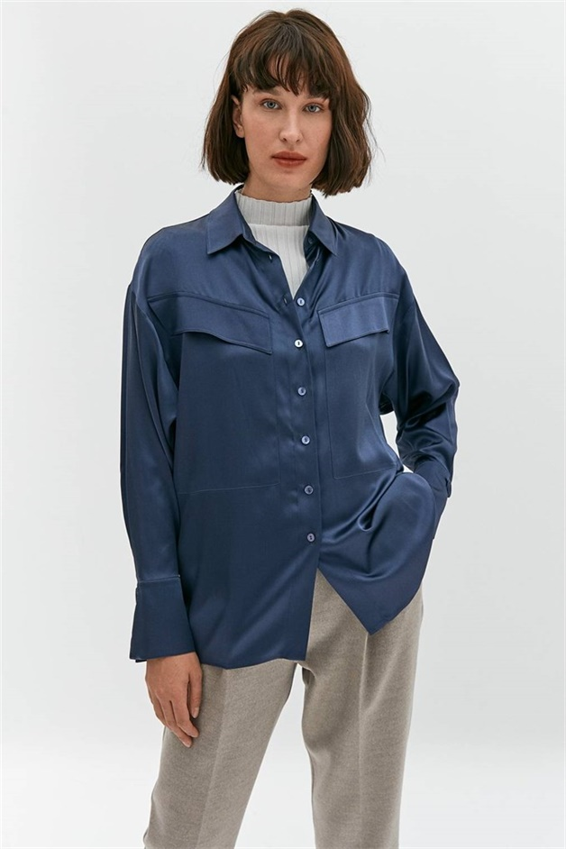 Satin Shirt With Wide Flap Front Pockets