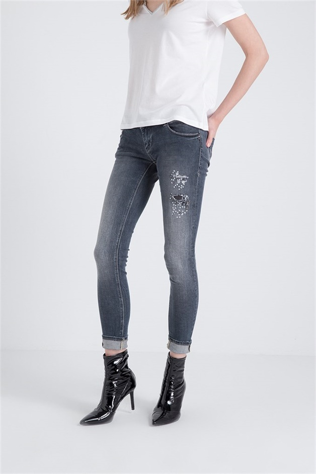 Stone Embroidered Front Denim Trousers Greystone