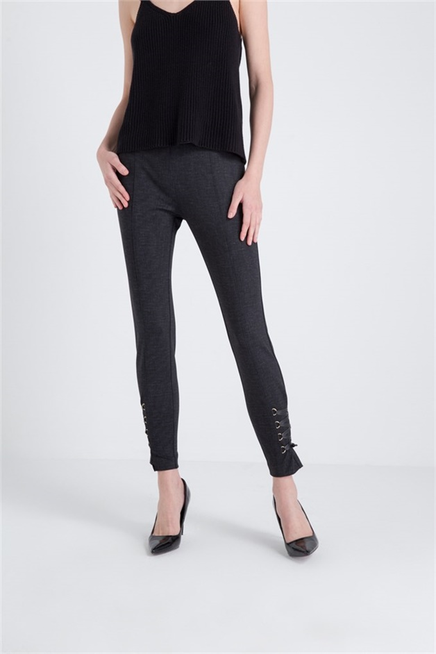Fracomina Leather Sleeve Trousers With String Detail Charblack