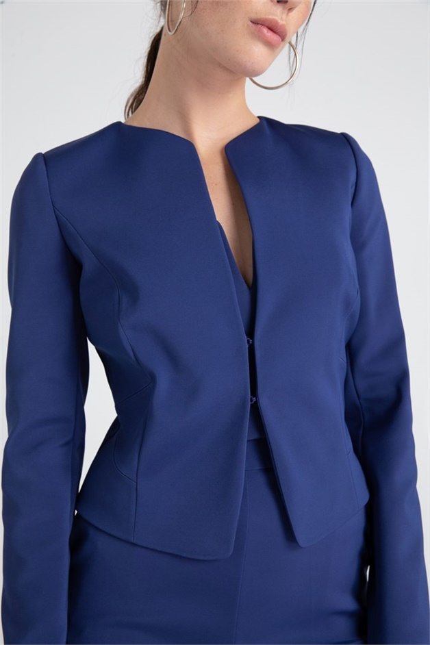 Elegant Jacket With Bra Cup Detail indigo