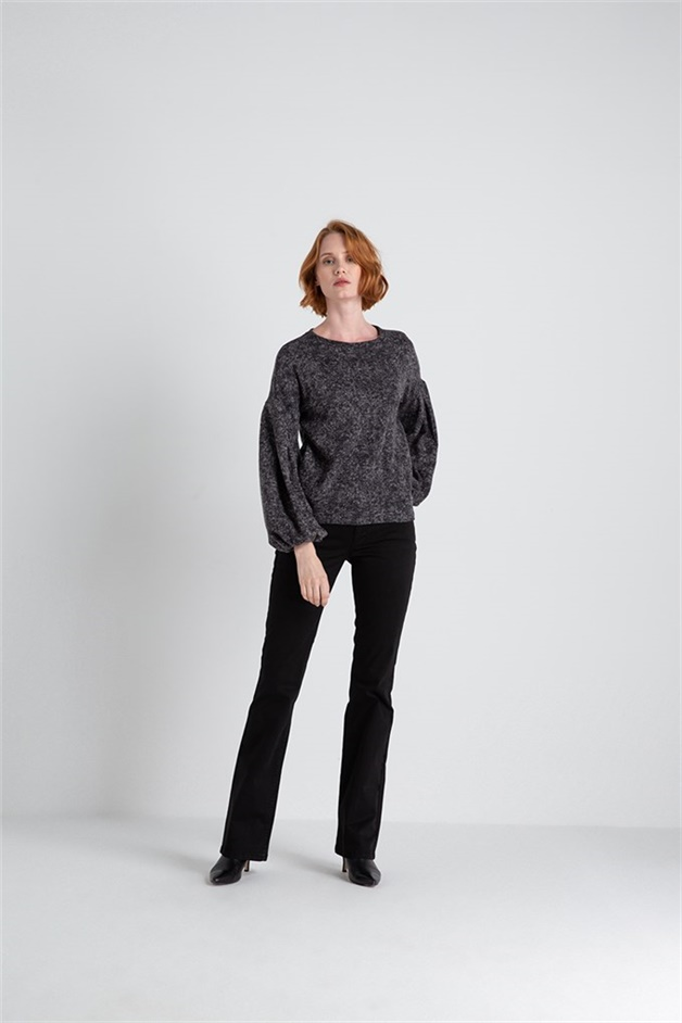Yanı Cepli,  Darkgrey Balon Kollu Sweat
