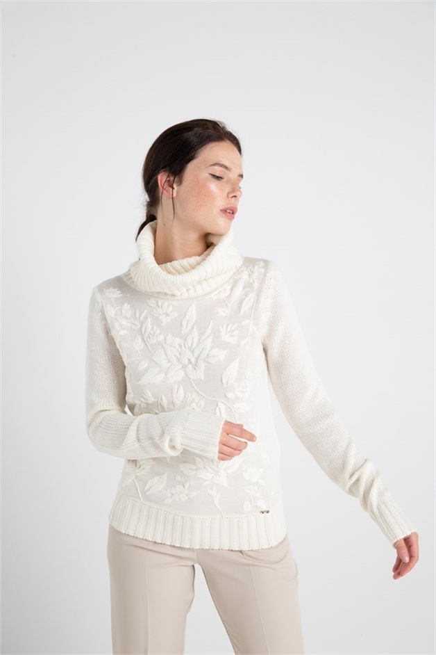 Knitwear With Floral Print Front Cream