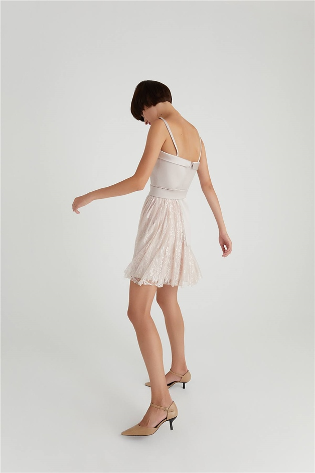 Asymmetric Tulle Dress Pudra Elbise