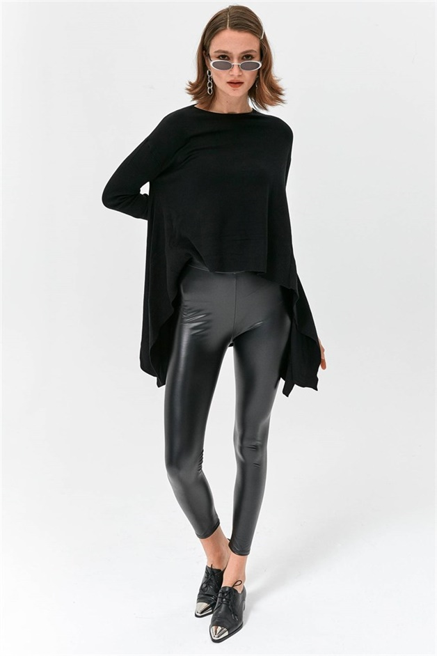 Black Faux Leather Tights