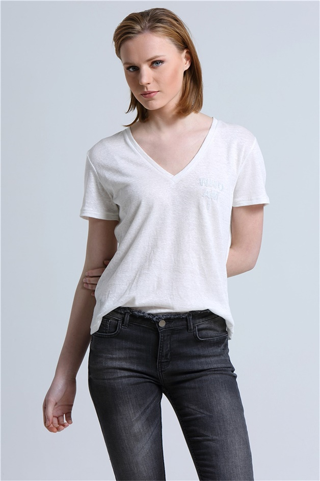 RUE T-SHIRTS WITH PATCH DETAIL WHITE