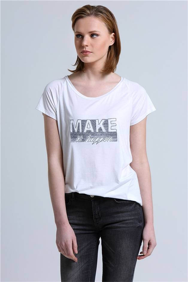 RUE SLOGAN T-SHIRTS WITH EMBROIDERY DETAIL ECRU